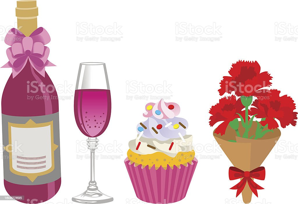 Mother's Day gift, Alcohol and sweets royalty-free stock vector art