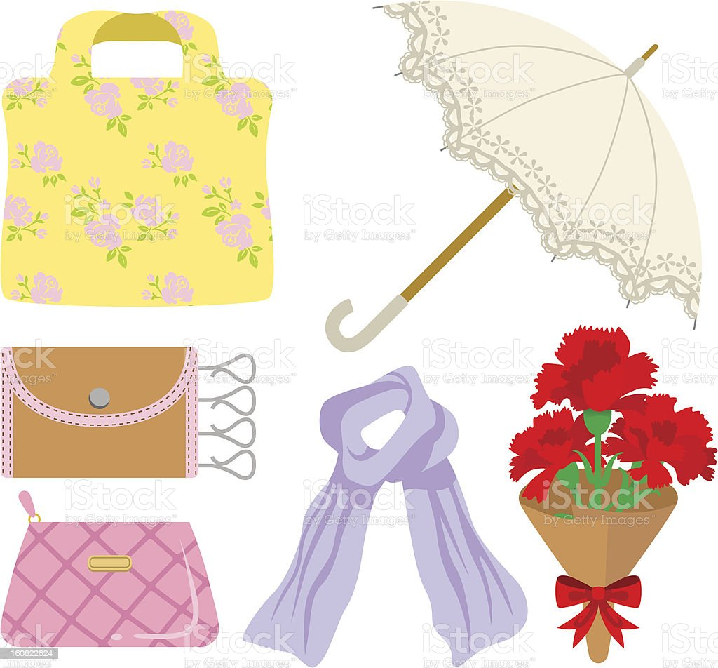 Mother's Day gift, clothing and accessories royalty-free stock vector art