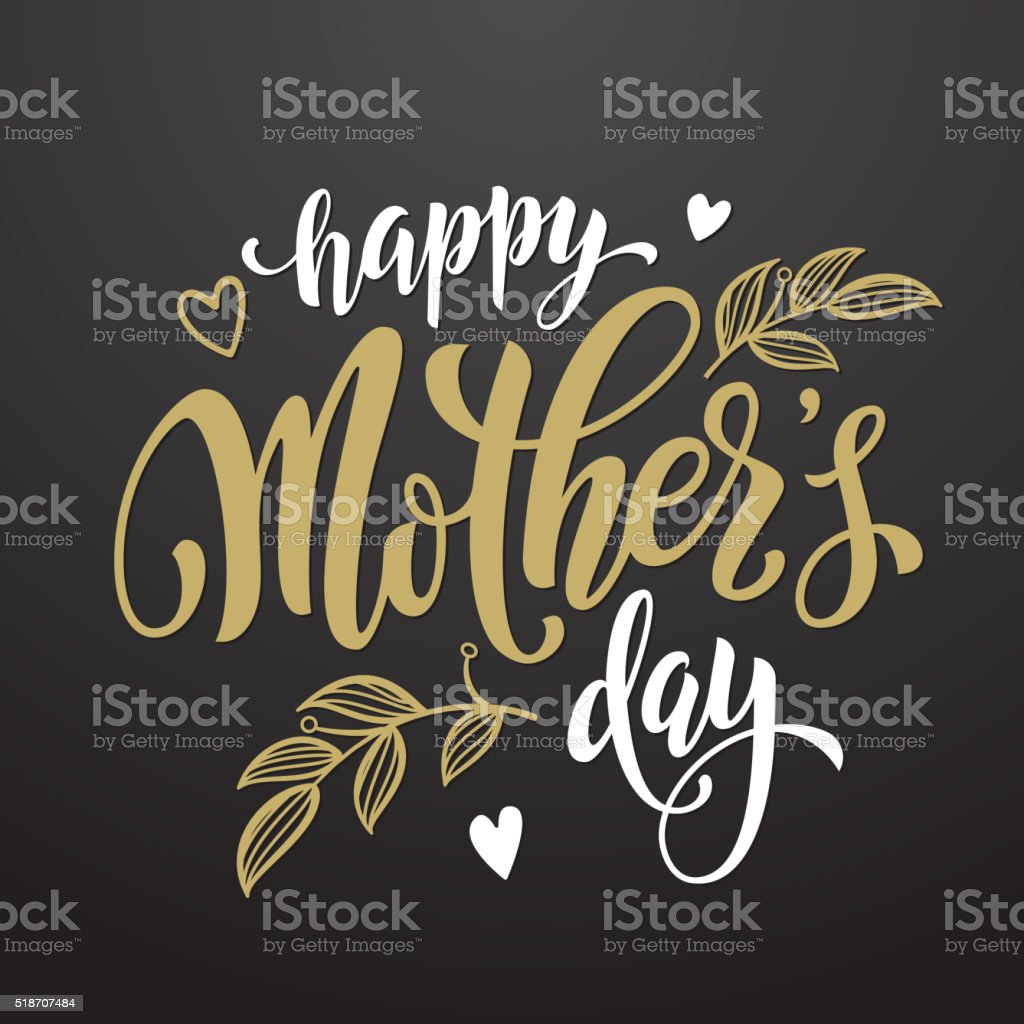 Mothers Day greeting card with floral leaves pattern. vector art illustration