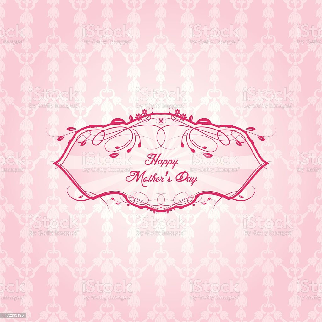 Mother's Day Label On Seamless Background royalty-free stock vector art