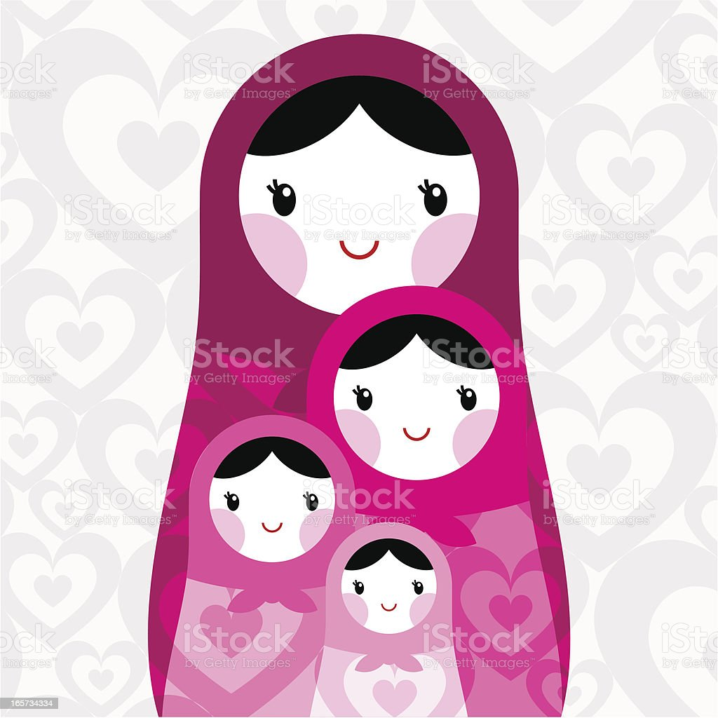 Mothers Day, love, Russian doll vector art illustration