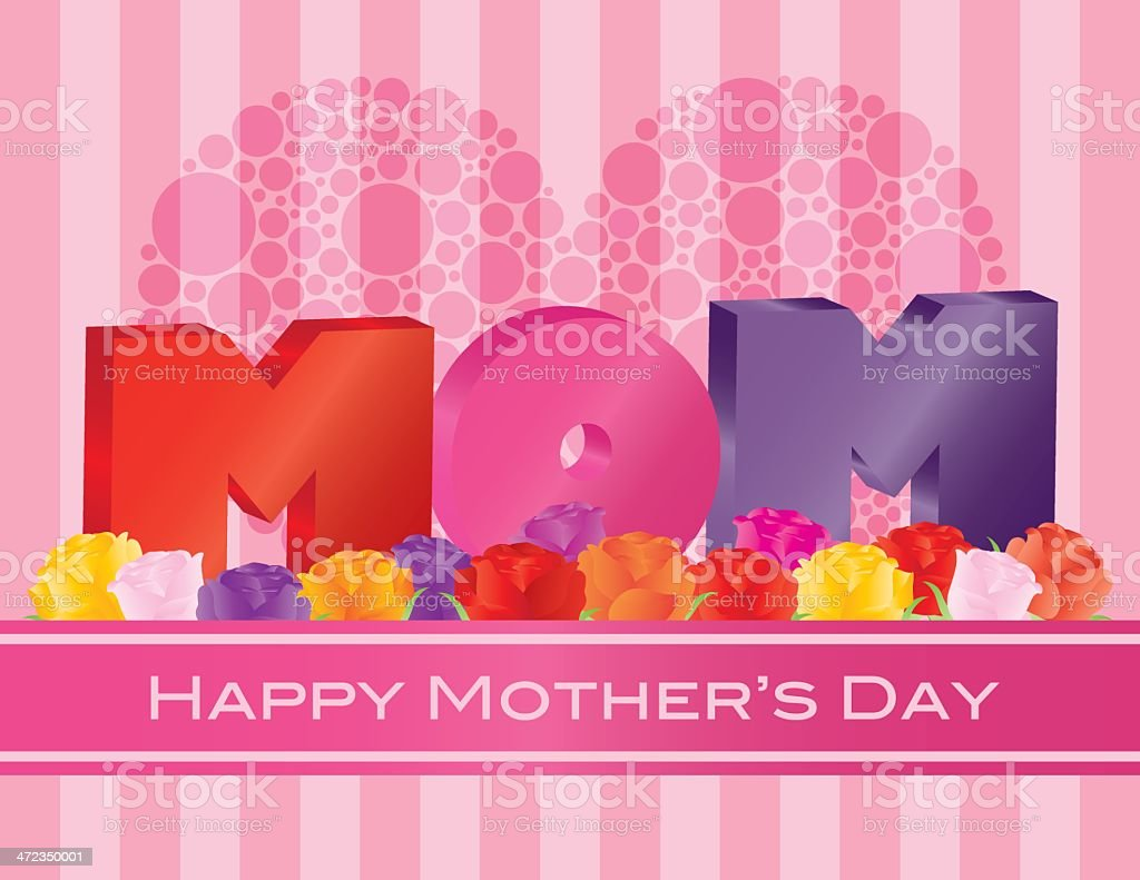 Mothers Day MOM Alphabet with Roses Greeting Card Illustration royalty-free stock vector art