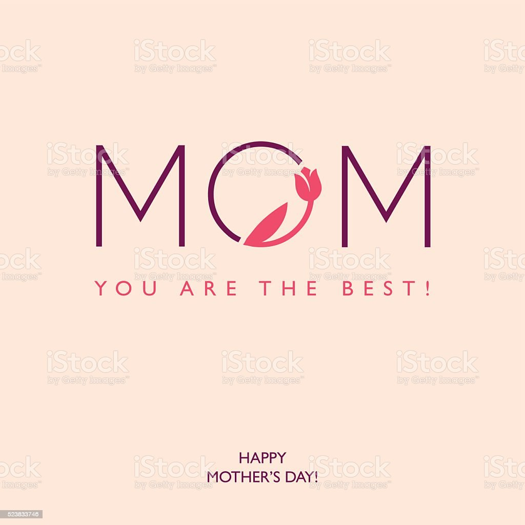 Mothers Day or Birthday greeting card vector art illustration