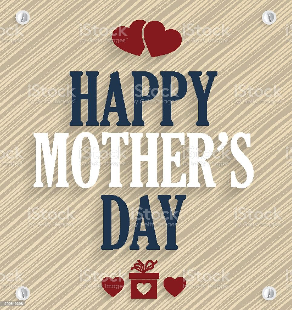Mothers Day poster. Wooden background vector art illustration
