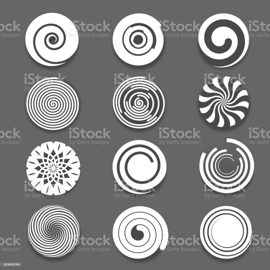 Motion spiral, swirl vector set vector art illustration