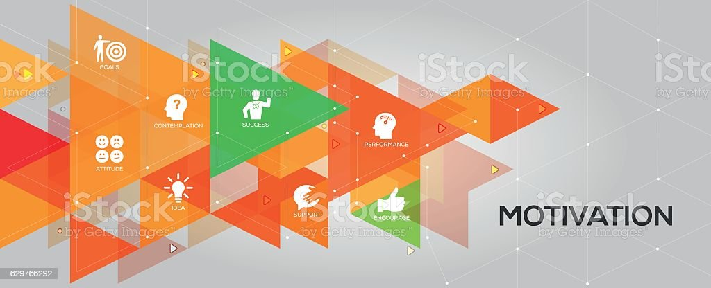 Motivation banner and icons vector art illustration