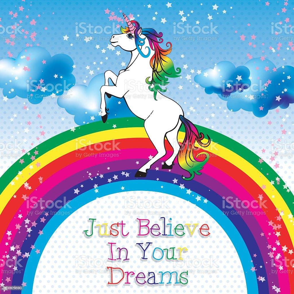 Motivation card. Unicorn with a rainbow vector. vector art illustration