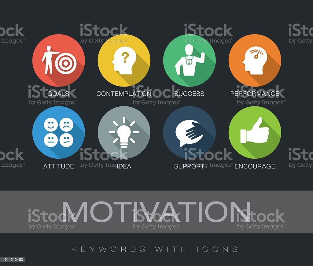 Motivation keywords with icons vector art illustration