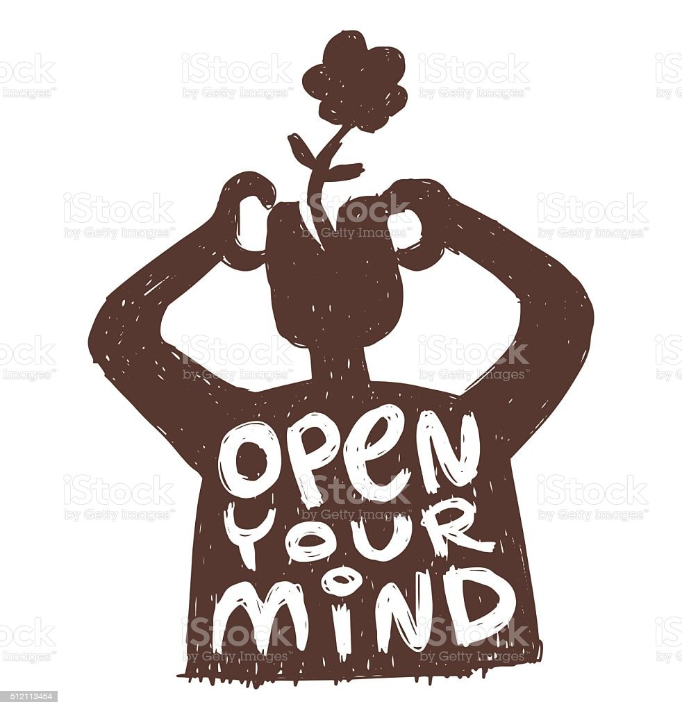Motivational card 'Open your mind' vector art illustration