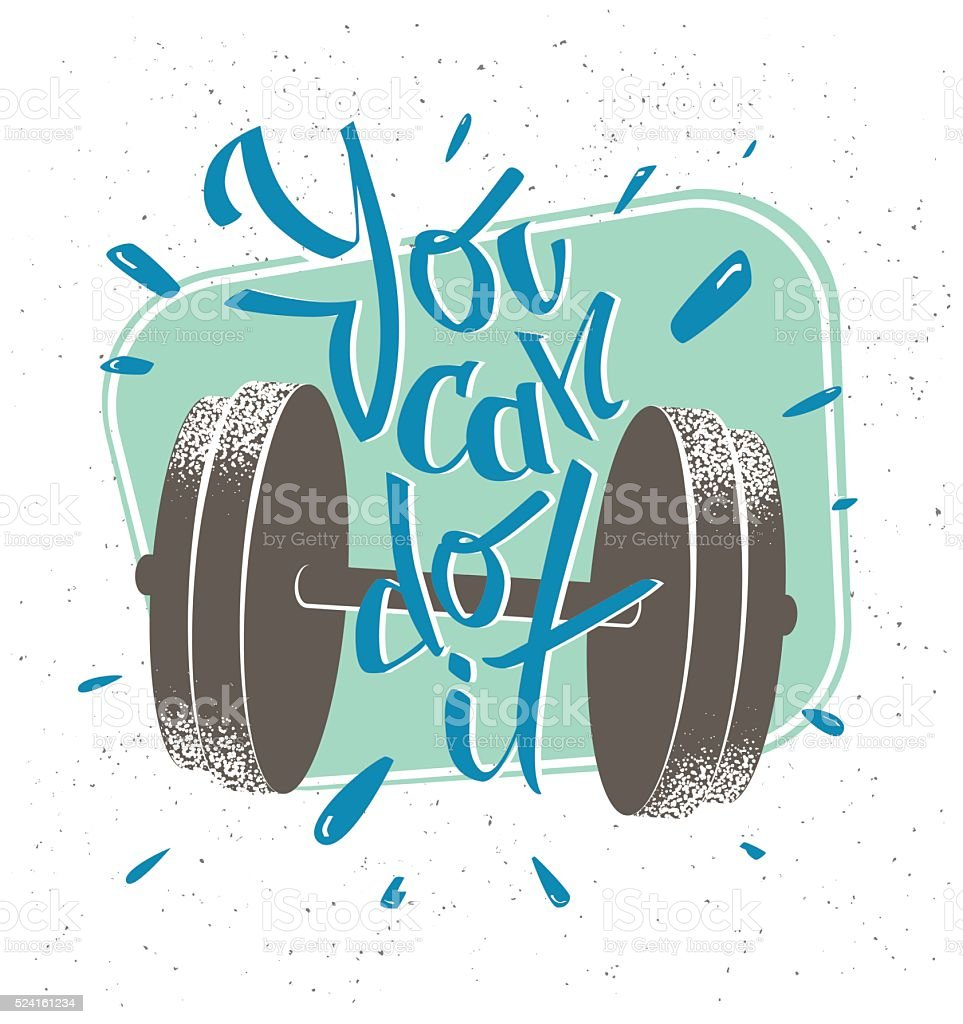 Motivational message Retro style illustration. You can do it vector art illustration