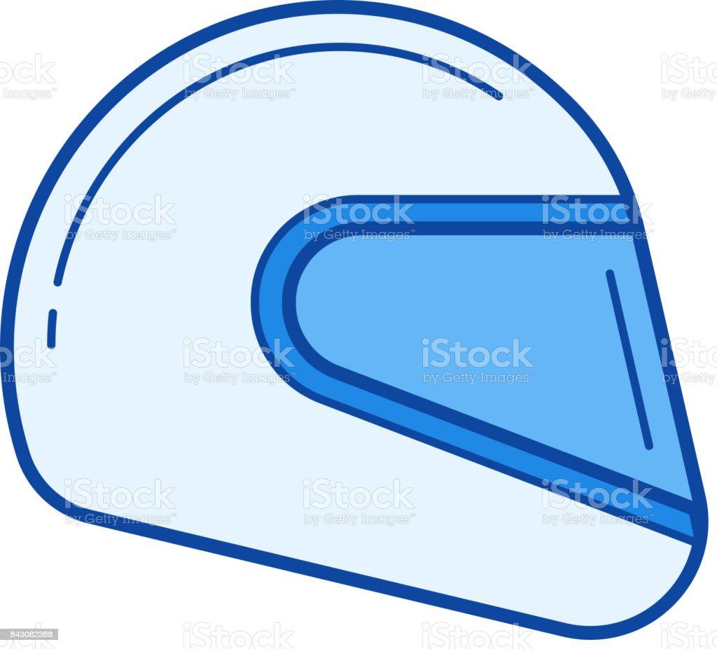 Moto helmet line icon vector art illustration