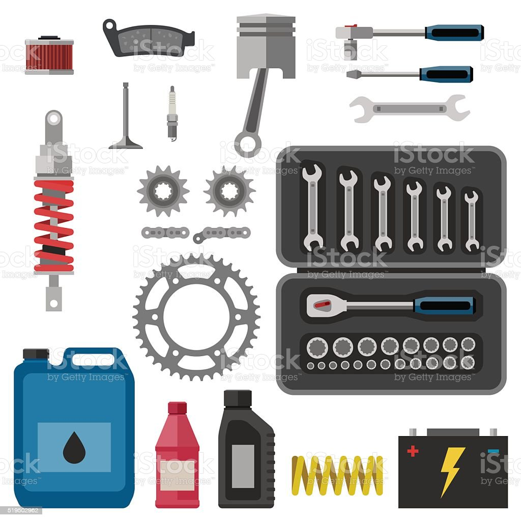 Moto parts with tools. vector art illustration