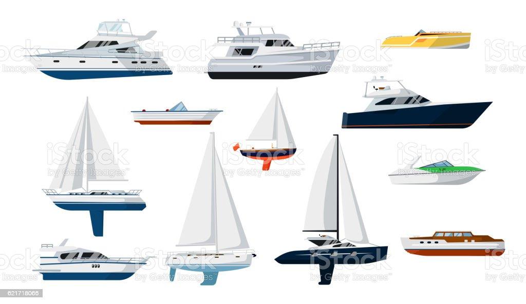 Motor boat and sailboat set vector art illustration