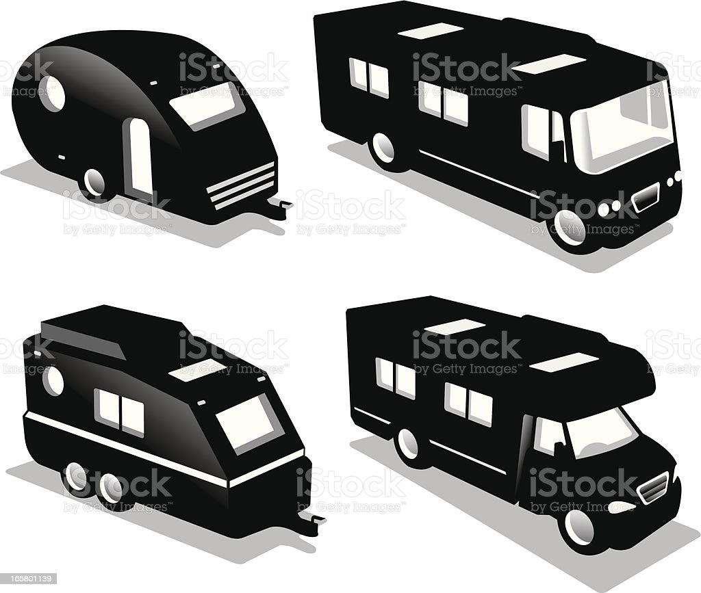 motor home collection vector art illustration