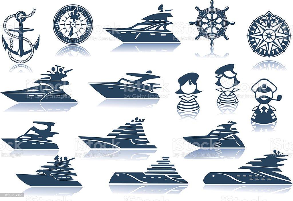 Motor Luxury Yachts Silhouettes Set vector art illustration