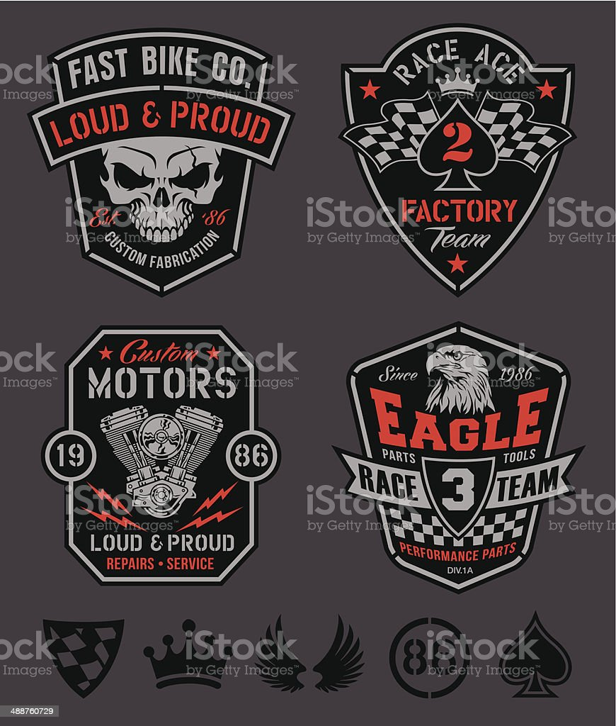 Motor patches emblem set vector art illustration