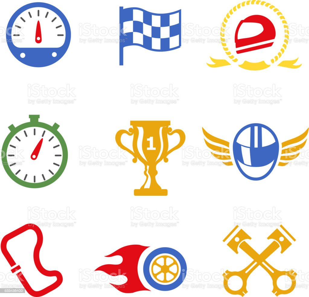 Motor race formula icons set vector art illustration