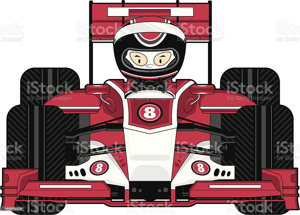 Motor Racing Driver in Car vector art illustration
