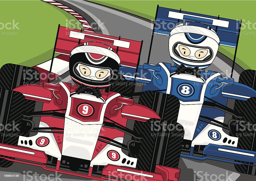 Motor Racing Drivers on Track vector art illustration