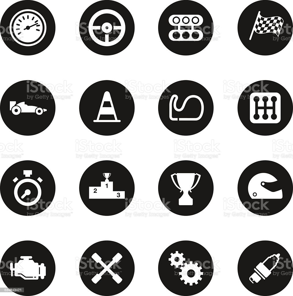 Motor Racing Icons - Black Circle Series vector art illustration
