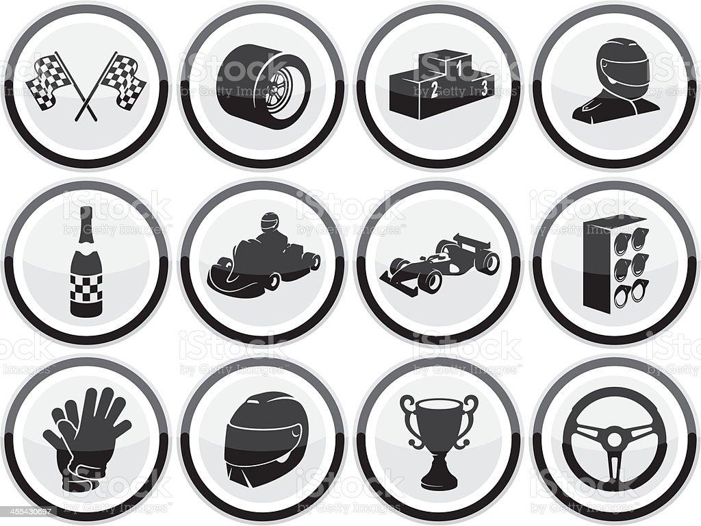 Motor Racing Icons royalty-free stock vector art