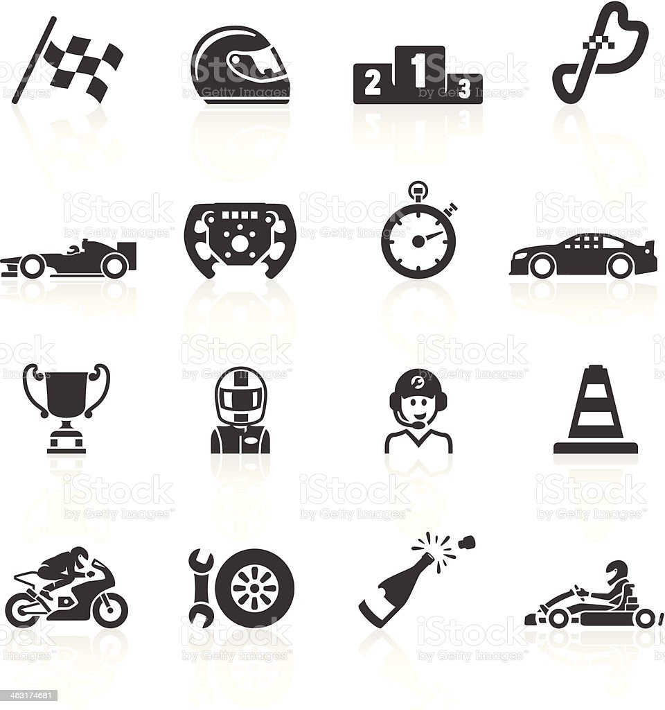 Motor Racing Icons vector art illustration