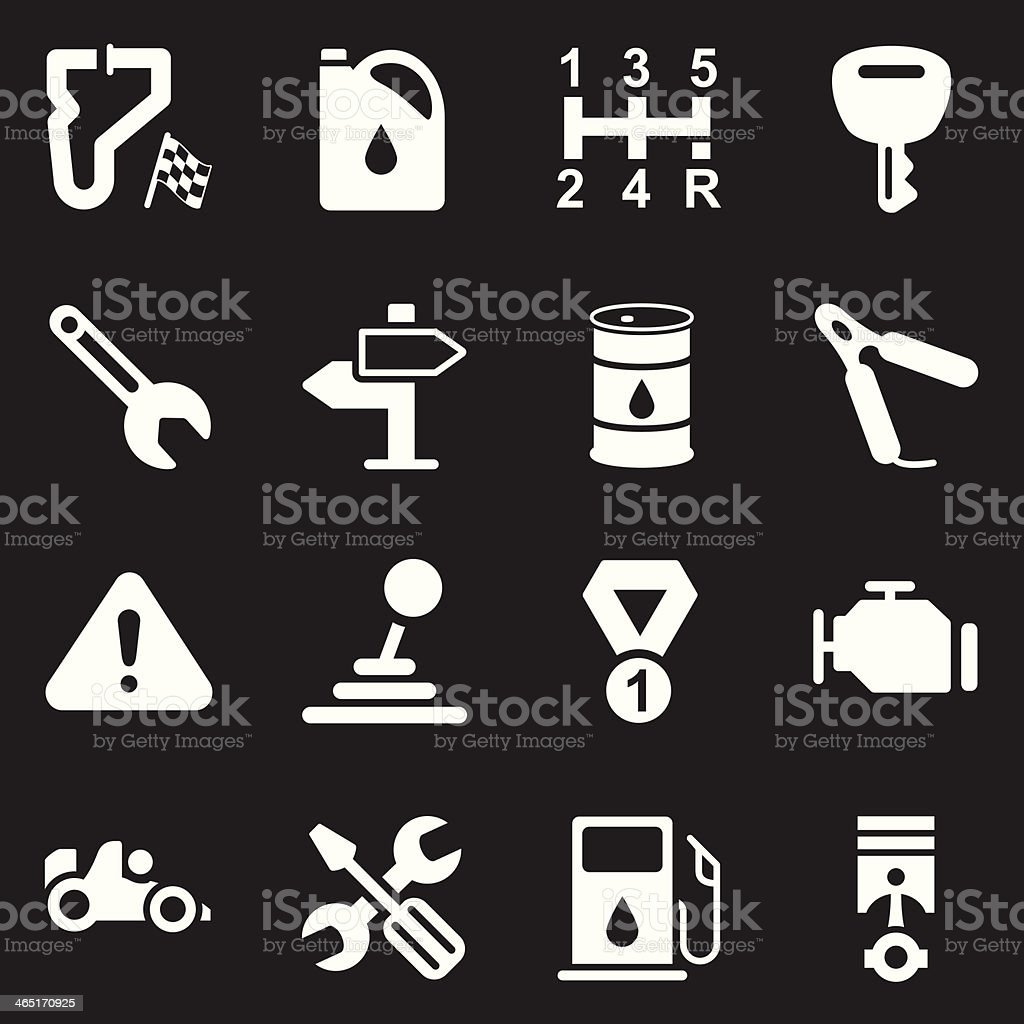 Motor Racing Icons | White Series royalty-free stock vector art