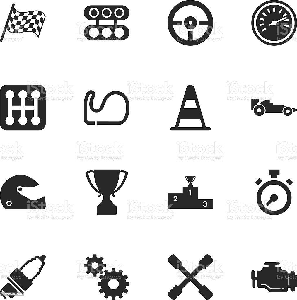 Motor Racing Silhouette Icons vector art illustration