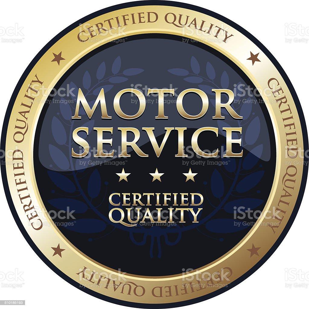 Motor Service Gold Badge vector art illustration