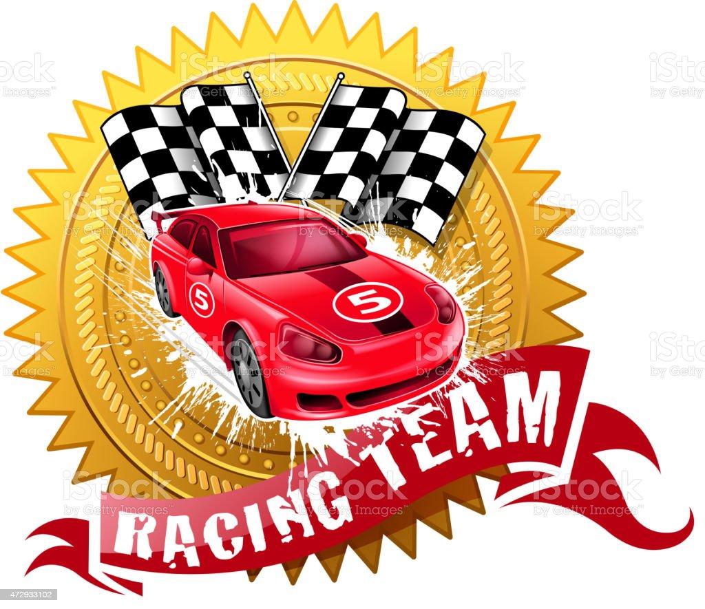 motor sport winning vector art illustration
