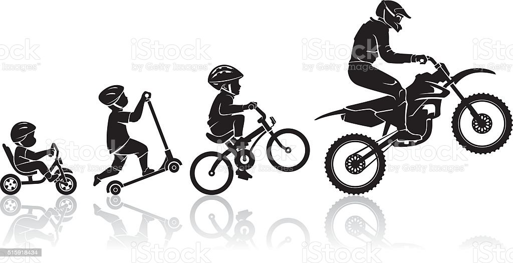 Motorbike Evolution Stages vector art illustration