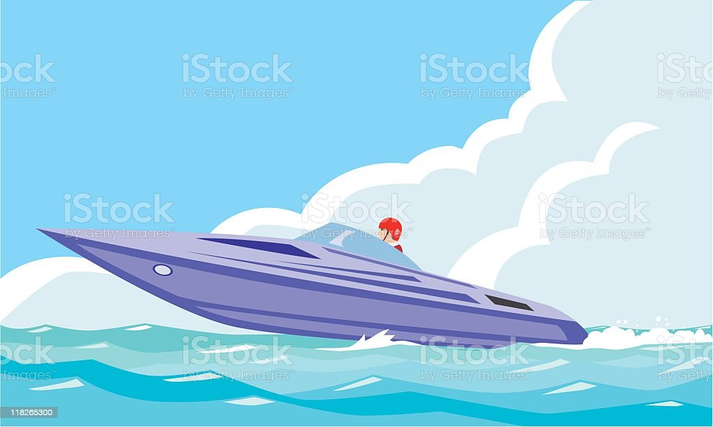 motor-boat sport vector art illustration