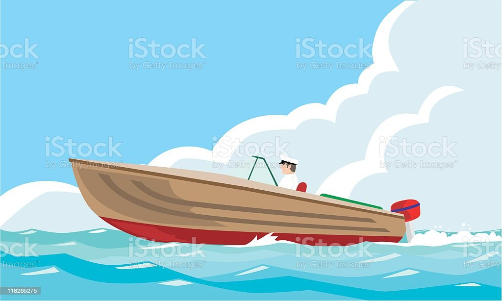 motor-boat vector art illustration