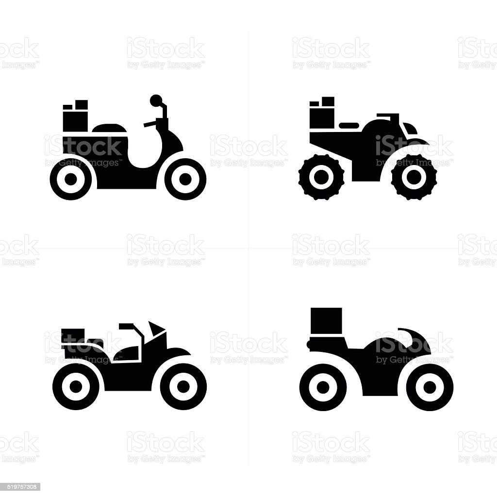 motorcycle and Transport Icons vector art illustration