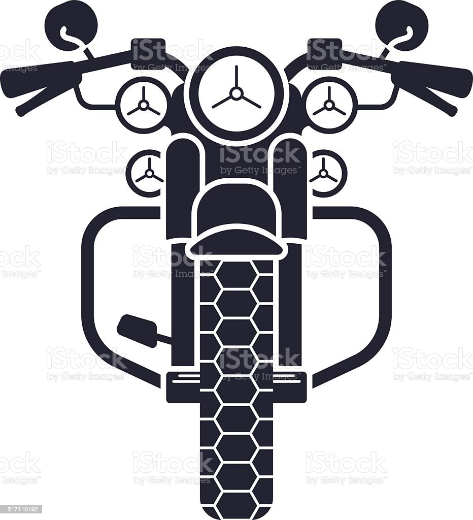 Motorcycle Front View Silhouette Symbol vector art illustration