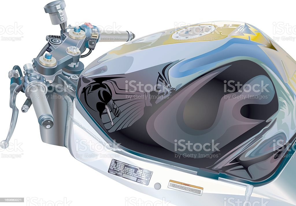 Motorcycle Handlebar With Fuel Tank royalty-free stock vector art