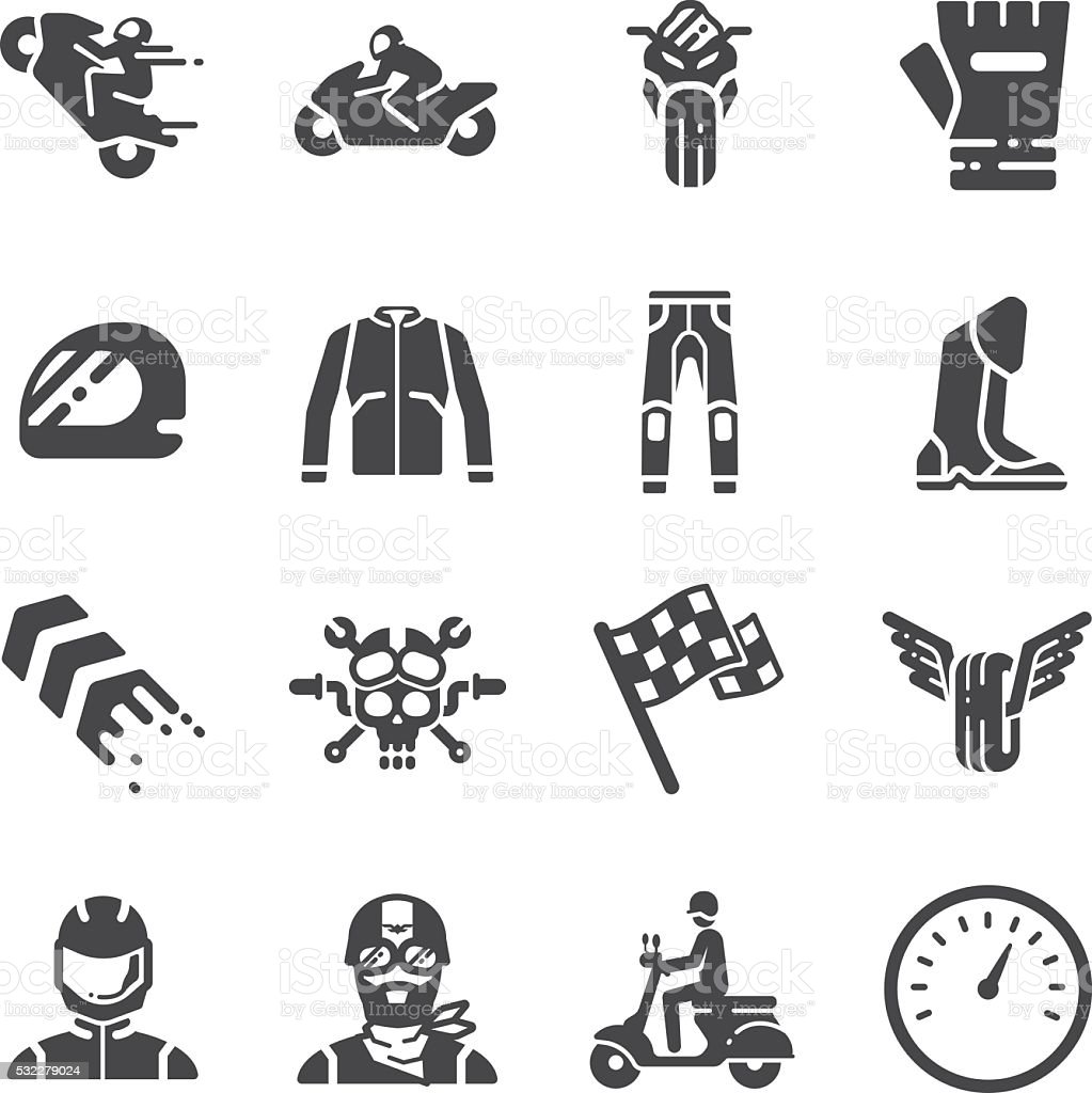 Motorcycle icons set vector art illustration