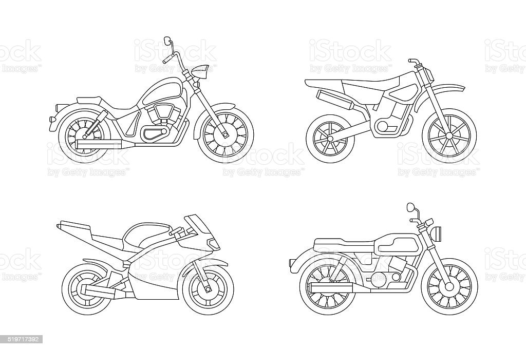 Motorcycle line icons set. vector art illustration