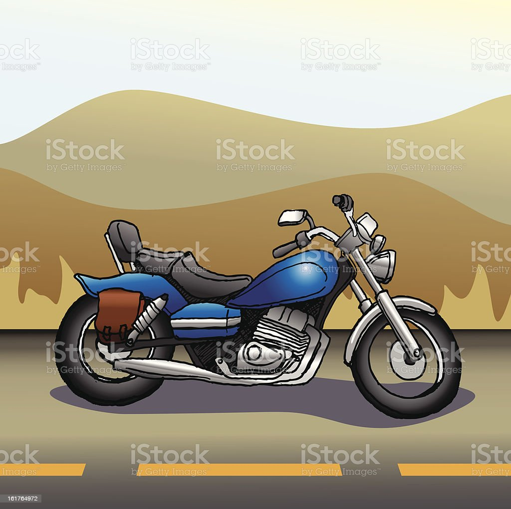Motorcycle on the open road royalty-free stock vector art