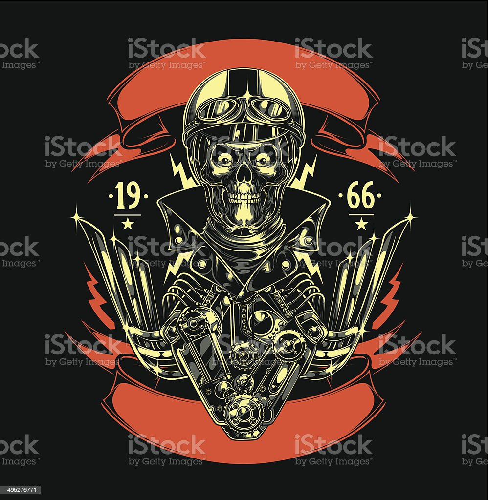 Motorcycle Patch vector art illustration