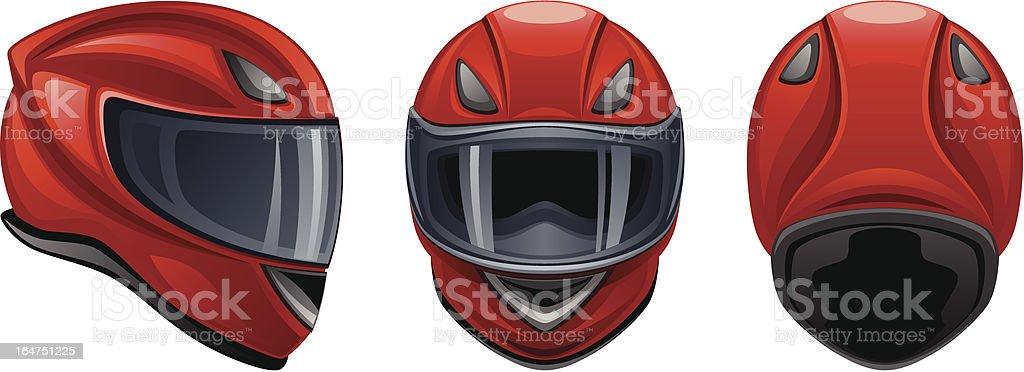 Motorcycle red helmet vector art illustration