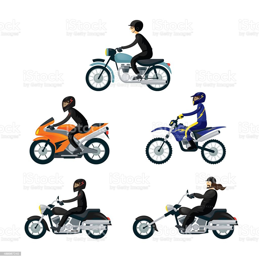 Motorcycle Riders, Bikers, vector art illustration