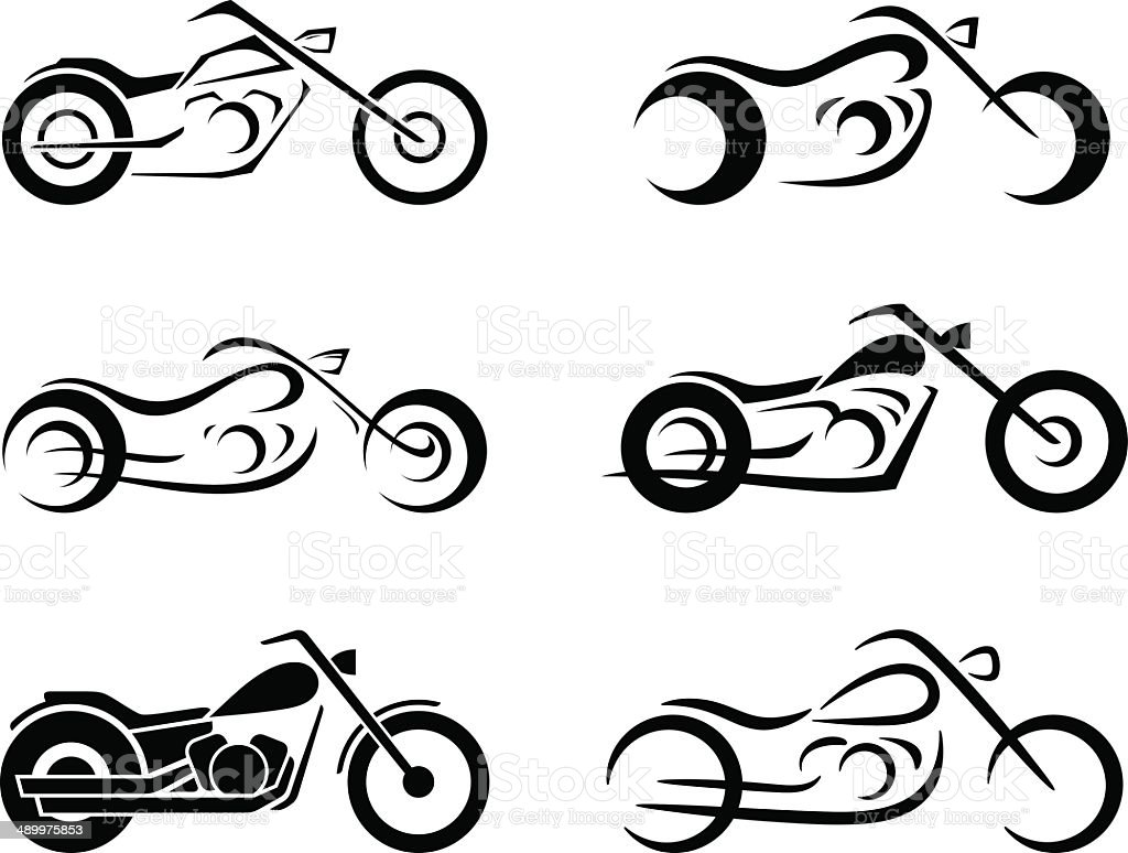 Motorcycle set vector art illustration