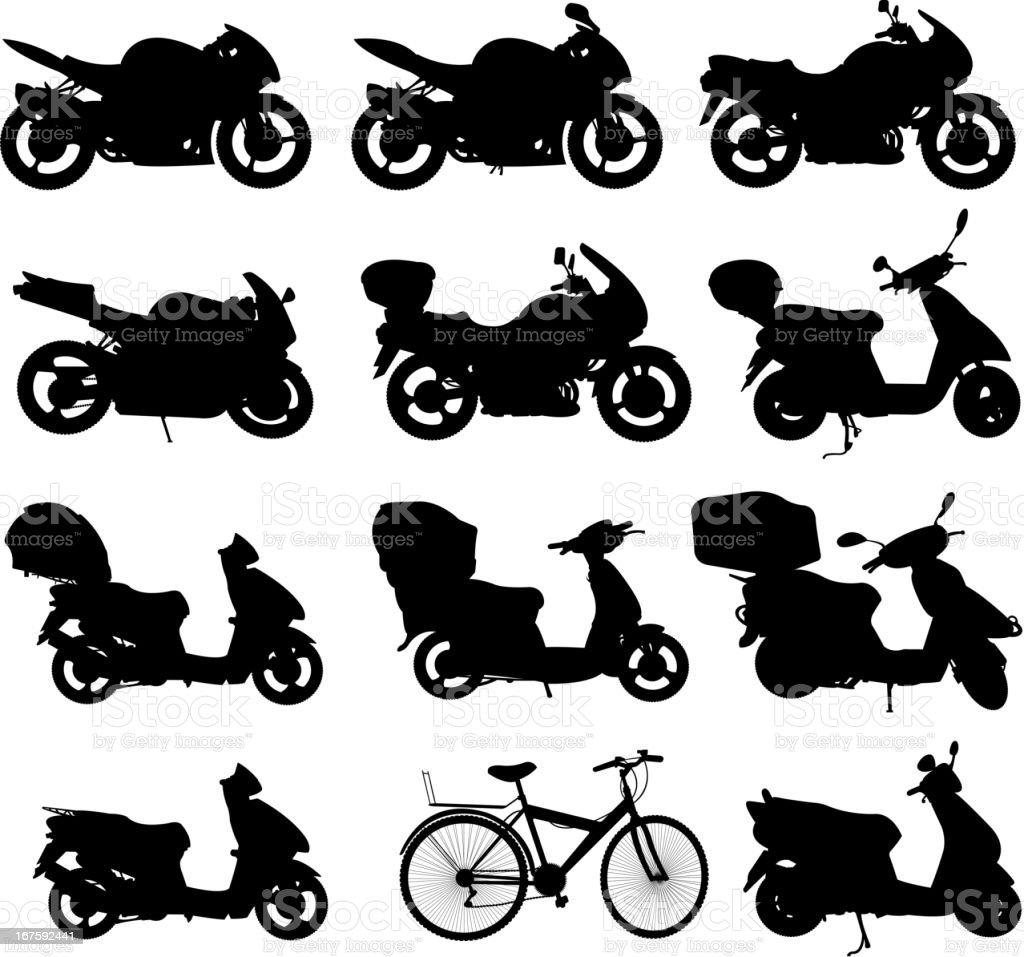 motorcycle silhouette set vector art illustration