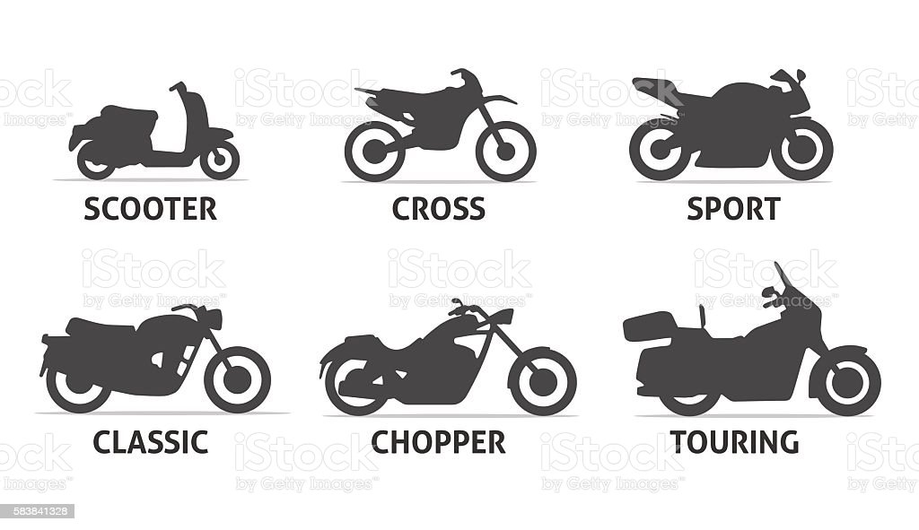 Motorcycle Type and Model Objects icons Set. vector art illustration