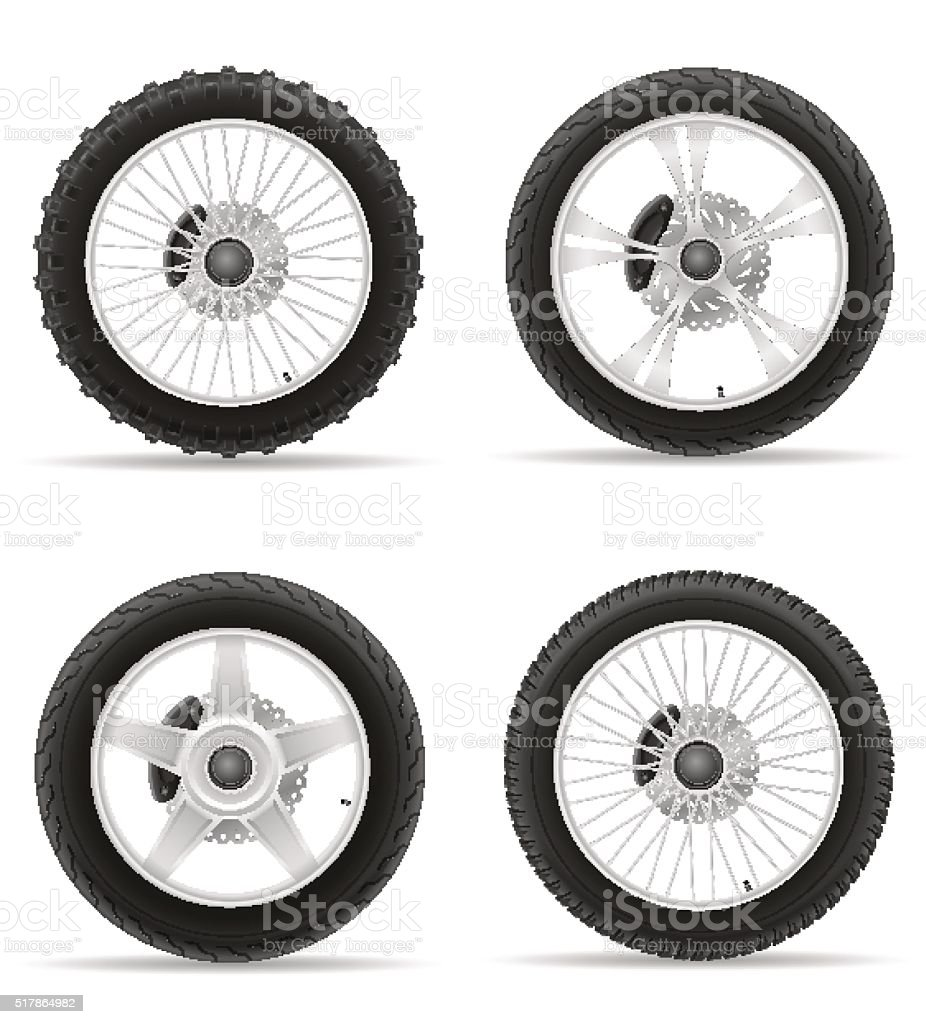 motorcycle wheel tire from the disk set icons vector illustratio vector art illustration