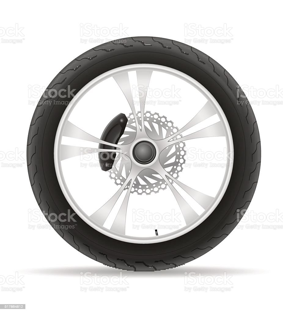motorcycle wheel tire from the disk vector illustration vector art illustration