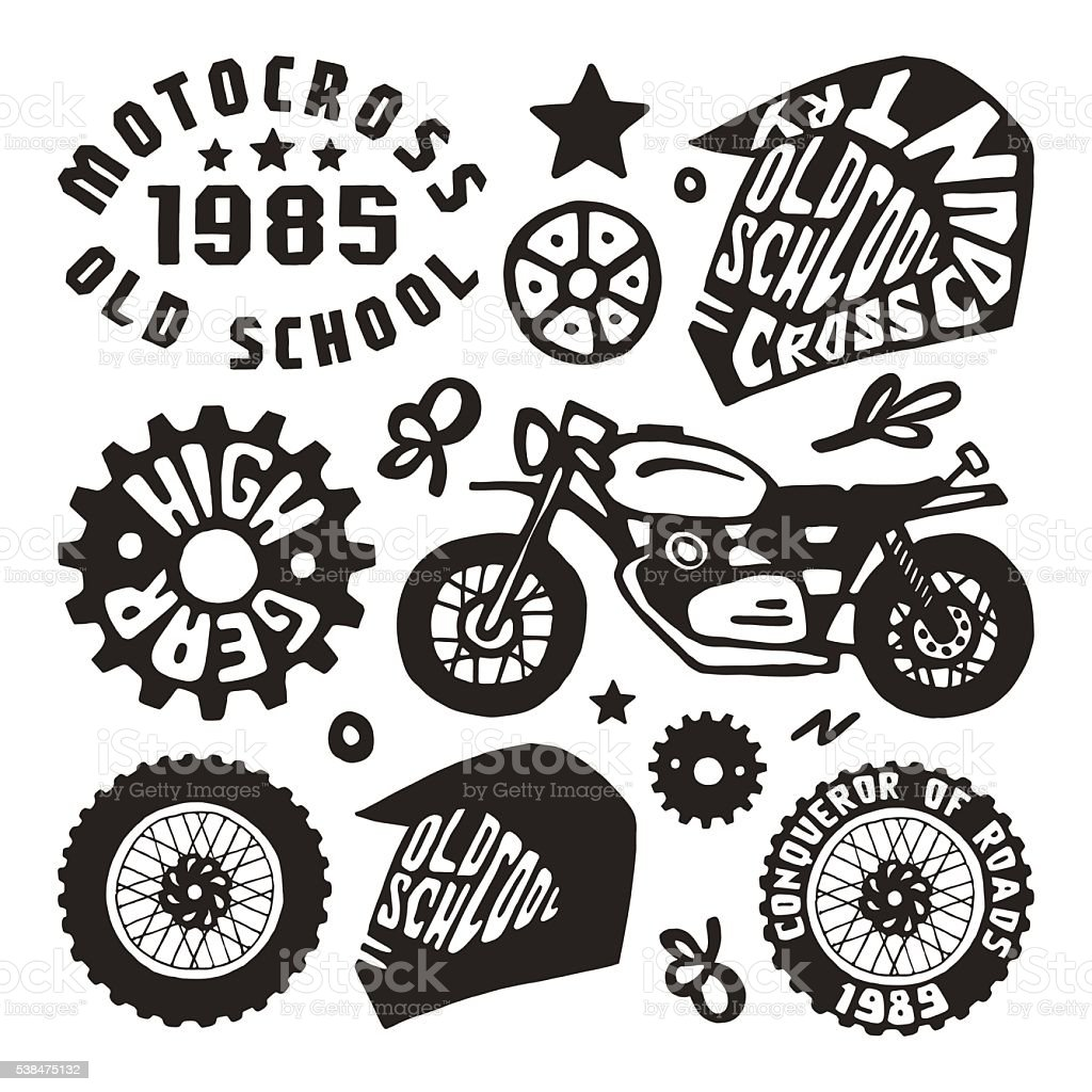 Motorcycling elements in hand-drawn style vector art illustration