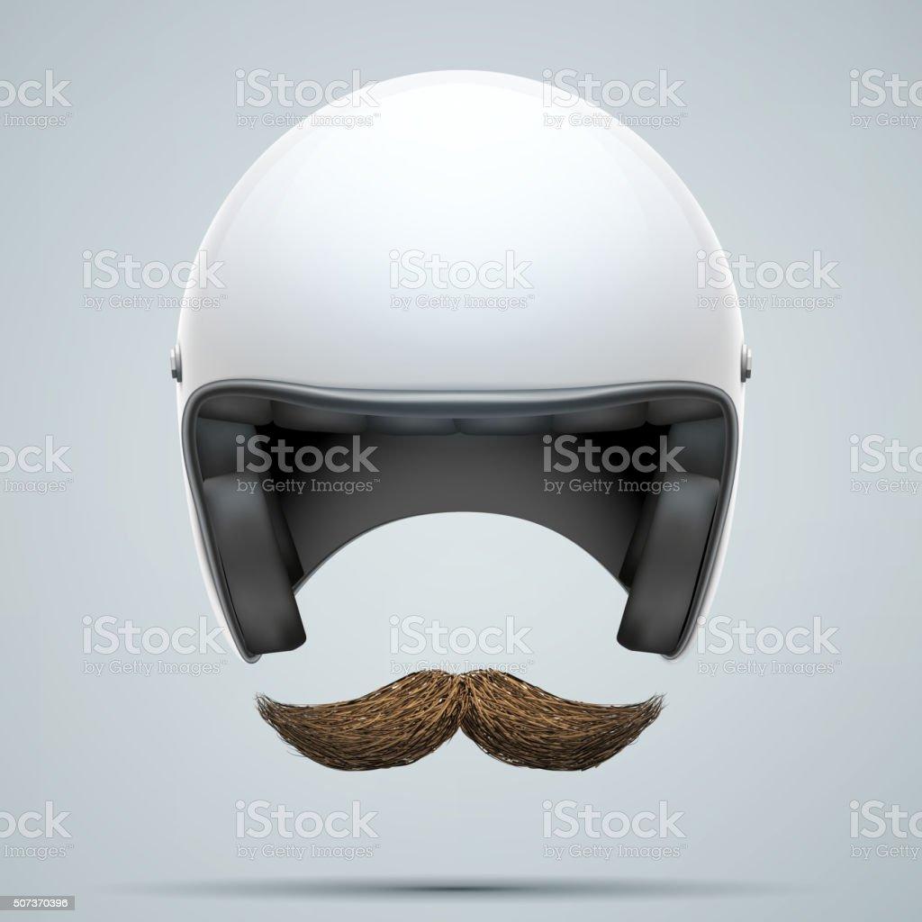 Motorcyclist symbol with mustache vector art illustration