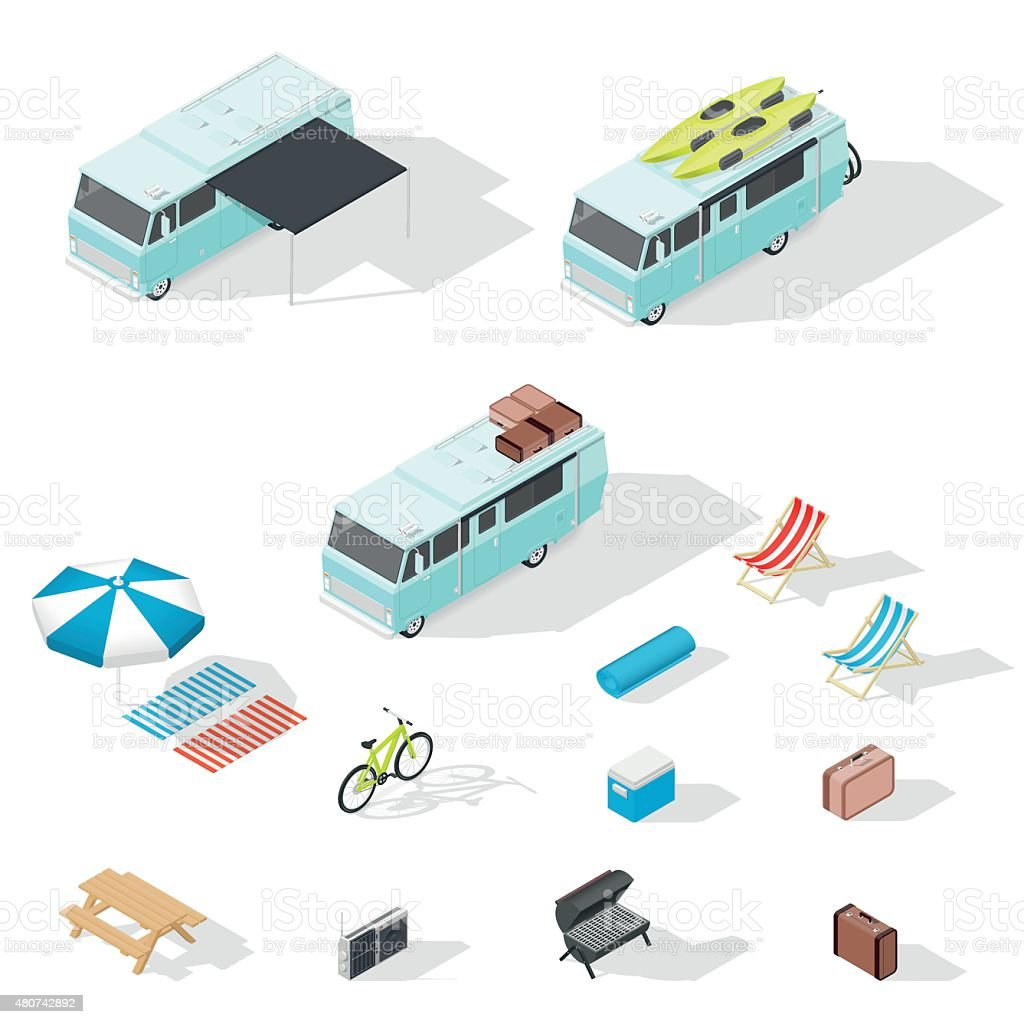 Motorhome and camping accessories isometric icons set vector art illustration